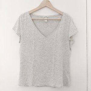 H&M Basic heathered beige short sleeve top